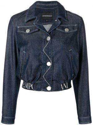 Укороченная джинсовая куртка Emporio Armani. Цвет: синий
