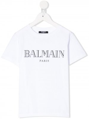 Футболка с логотипом Balmain Kids. Цвет: белый