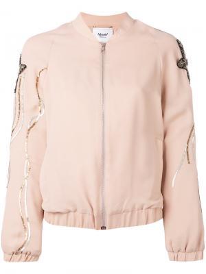 Куртка-бомбер с вышивкой пайетками Blugirl. Цвет: розовый и фиолетовый