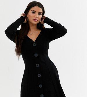 Черное чайное платье в рубчик с длинными рукавами ASOS DESIGN Petite-Черный Petite
