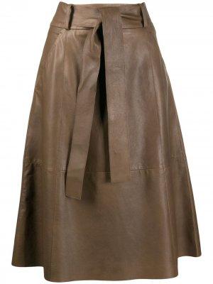 Юбка A-силуэта с завязками Luisa Cerano. Цвет: коричневый
