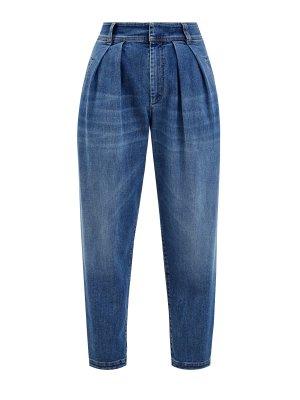 Укороченные джинсы Slouchy с выбеленным эффектом ручной работы BRUNELLO CUCINELLI. Цвет: синий