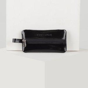 Ключница, длина 12 см, отдел на молнии, металлическое кольцо, цвет чёрный TEXTURA