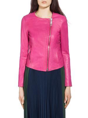 Кожаная куртка Dirk Bikkembergs. Цвет: розовый