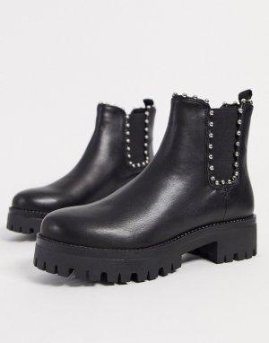 Черные кожаные ботинки челси с заклепками -Черный Steve Madden