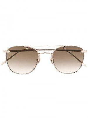 Затемненные солнцезащитные очки в круглой оправе Linda Farrow