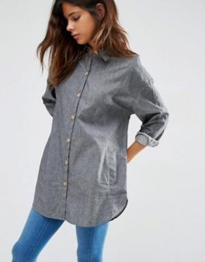 Мягкая саржевая oversize‑рубашка ASOS. Цвет: серый
