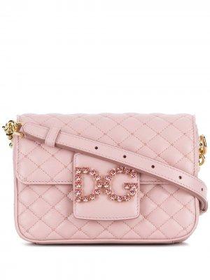 Сумка через плечо с логотипом DG Dolce & Gabbana. Цвет: розовый