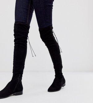 Черные ботфорты для широкой стопы и голени Kayden-Черный ASOS DESIGN