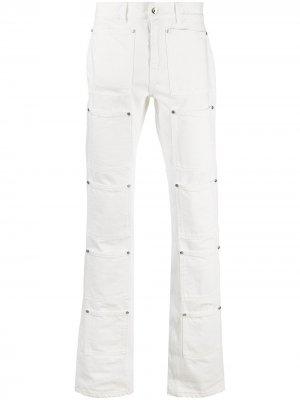 Расклешенные джинсы с графичным принтом Lourdes. Цвет: белый