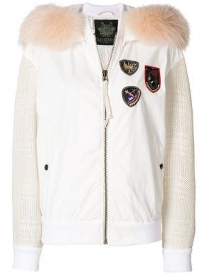 Куртка-бомбер с контрастными рукавами Mr & Mrs Italy. Цвет: белый