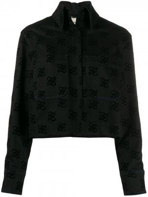 Джинсовая куртка с логотипом Fendi. Цвет: черный