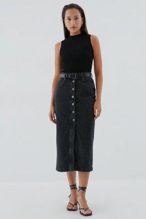 Юбка джинсовая ZARINA. Цвет: 109, темно-серый деним