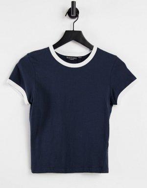 Темно-синяя футболка с контрастной отделкой Claudia-Голубой Brave Soul