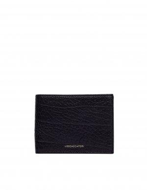 Черный кошелек Pocket из фактурной кожи Ugo Cacciatori