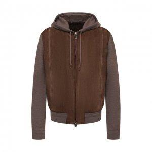 Комбинированный бомбер Zegna Couture. Цвет: коричневый
