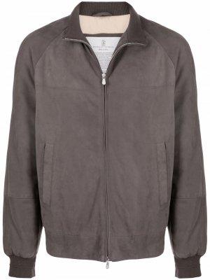 Suede feather-down bomber jacket Brunello Cucinelli. Цвет: серый