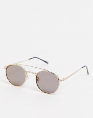 Круглые солнцезащитные очки с золотистой оправой -Серебристый ASOS DESIGN