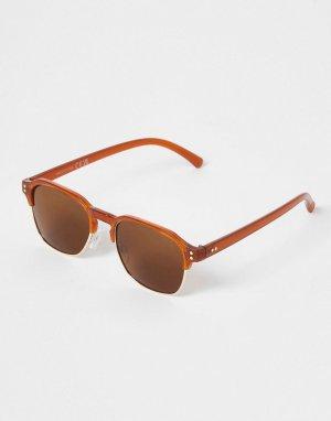 Коричневые солнцезащитные очки в стиле ретро -Коричневый цвет River Island