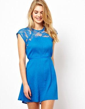 Короткое пляжное платье с поясом и кружевами Lori-Синий French Connection