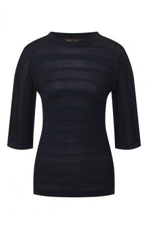Пуловер из смеси кашемира и шелка Loro Piana. Цвет: темно-синий