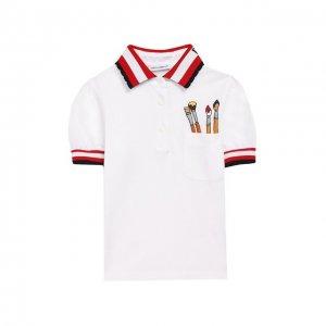 Хлопковое поло Dolce & Gabbana. Цвет: белый