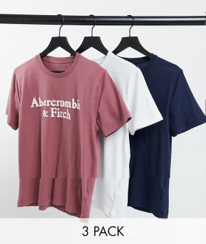 Набор из трех 3 футболок с крупным логотипом белого/бордового/темно-синего цветов -Многоцветный Abercrombie & Fitch