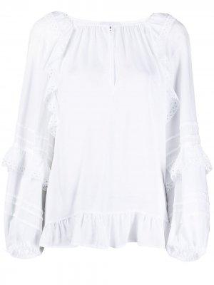 Блузка с объемными рукавами и оборками Dondup. Цвет: белый