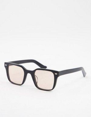Квадратные солнцезащитные очки в черной оправе с коричневыми линзами стиле унисекс Lovejoy-Черный цвет Spitfire