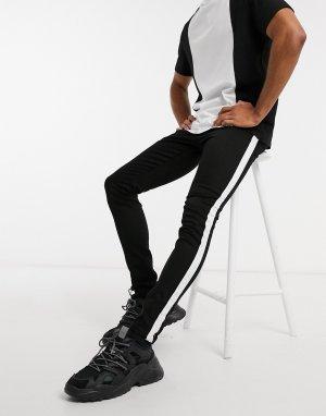 Черные джинсы скинни с лентой по бокам -Черный цвет Criminal Damage