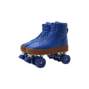 Кожаные роликовые коньки Bottega Veneta. Цвет: синий