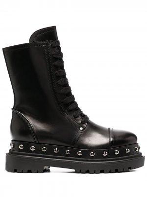 Ботинки с заклепками Casadei. Цвет: черный