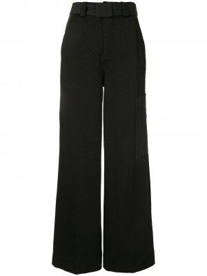 Расклешенные брюки с завышенной талией и поясом GANNI. Цвет: черный