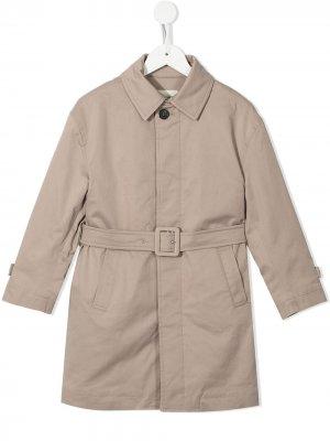 Пальто с длинными рукавами и поясом Fendi Kids. Цвет: коричневый