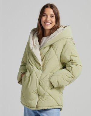Стеганая куртка цвета хаки с подкладкой -Зеленый цвет Bershka