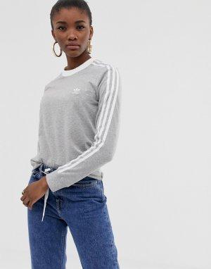 Серый лонгслив с тремя полосками adicolor adidas Originals