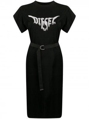 Платье-футболка с логотипом Diesel. Цвет: черный