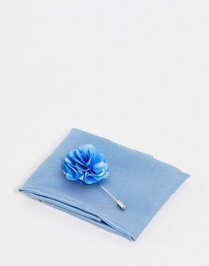 Булавка на лацкан пиджака с цветком и платок-паше -Голубой Gianni Feraud