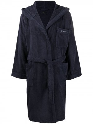 Халат с капюшоном Giorgio Armani. Цвет: синий