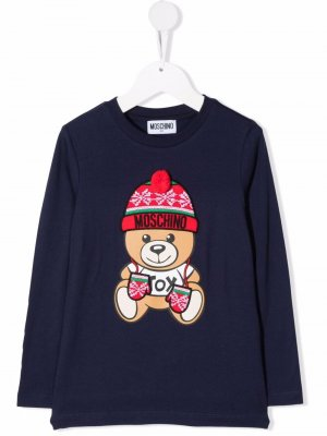 Intarsia bear-print T-shirt Moschino Kids. Цвет: синий