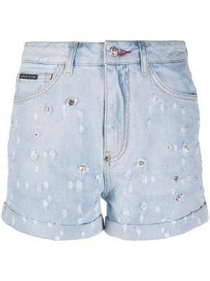 Джинсовые шорты с кристаллами Philipp Plein. Цвет: синий