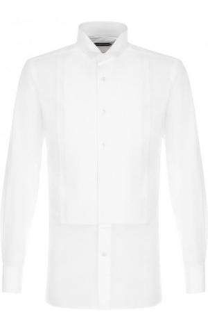 Хлопковая сорочка с воротником бабочка Tom Ford. Цвет: белый