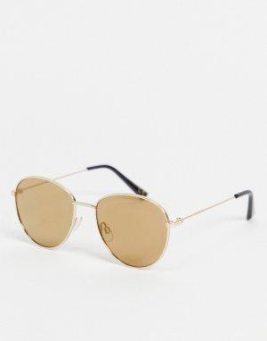 Круглые солнцезащитные очки -Золотистый River Island