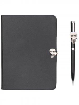 Комплект из блокнота и ручки Karl Lagerfeld. Цвет: черный