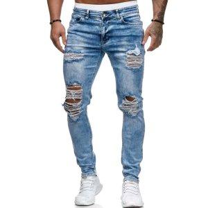 Мужские рваные джинсы с карманом SHEIN. Цвет: легкий синий умывания