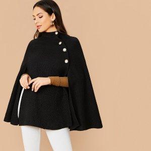 Твидовое пальто-кейп с пуговицами и воротником-стойкой SHEIN. Цвет: чёрный