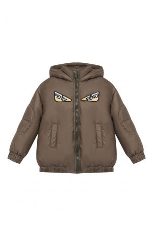 Пуховая куртка с капюшоном Fendi. Цвет: хаки