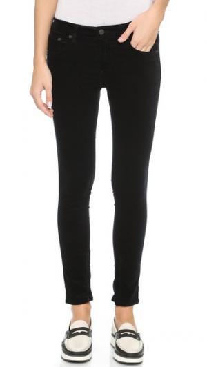 Бархатные брюки-капри с молниями Rag & Bone/JEAN. Цвет: черный бархат