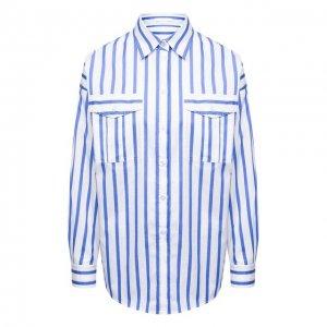 Хлопковая рубашка BOSS. Цвет: синий