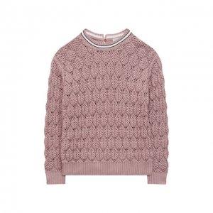 Хлопковый пуловер Brunello Cucinelli. Цвет: розовый